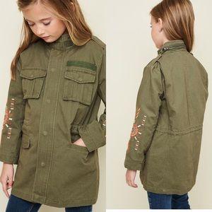 Hayden Girls olive embroidered cargo jacket